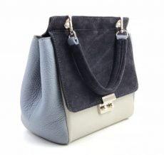 geanta trapez din piele naturala velur gri bleo bleumarin