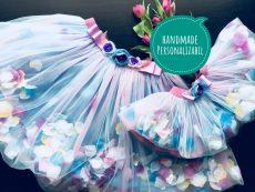 set fuste tutu mama fiica din tull bleu cu petale flori multicolore