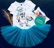 set fetite fusta tutu body tricou pictat cu unicorn