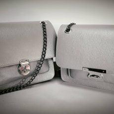 geanta personalizata din piele naturala argintie