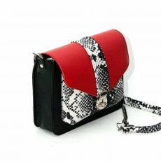 geanta personalizata din piele naturala negru rosu snake