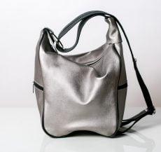 rucsac geanta personalizat din piele naturala argintie