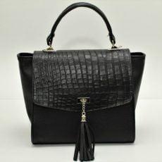 geanta trapez office din piele naturala negru snake