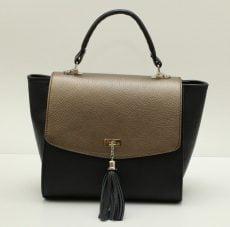 geanta office trapez din piele naturala negru bronz