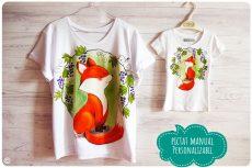 Set tricouri mama fiica pictat manual cu vulpite