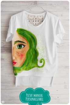 tricou dama pictat manual cu fata cu parul verde