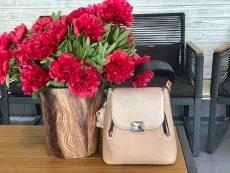 rucsac geanta din piele naturala roz aurie