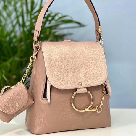 rucsac geanta din piele naturala roz prafuit sidef