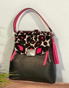 rucsac geanta din piele naturala neagra imprimeu safari