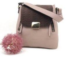 Rucsac geanta Chérie din piele naturala roz bronz snake