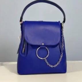 rucsac geanta din piele naturala albastru electric