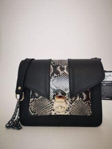 geanta patrata moderna din piele naturala negru snake