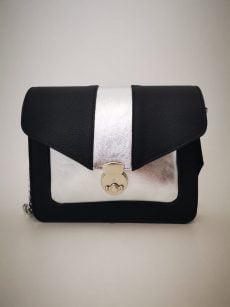 geanta patrata moderna din piele naturala negru argintiu