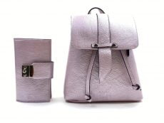 set fashion rucsac si portofel din piele naturala lila glossy