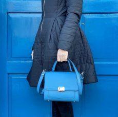 geanta patrata office din piele naturala albastru petrol